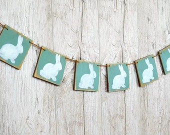 Wooden Easter banner Easter bunny Primitive Easter decorations Easter rabbit Easter sign Baby shower banner Nursery wall decor Bunny decor