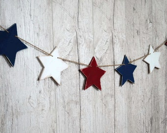 Wood Star garland Patriotic garland Patriotic decor Party decor 4th of July garland USA banner Patriotic banner USA Independence Day