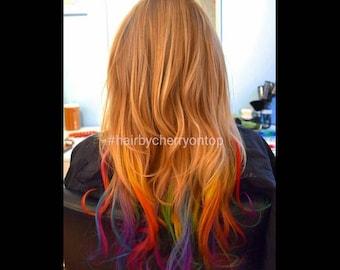 Medium Blonde Clip-in Hair Extensions - Rainbow Hair
