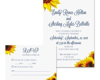 Sunflower Wedding Invitation & RSVP Digital Available