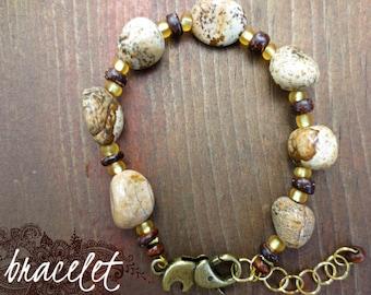 Earth Spirit Natural Jasper Gemstone Semi-Precious Elephant Clasp Bracelet