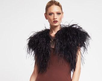 Ostrich Feather Bolero Onyx