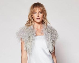 Ostrich Feather Shawl in Silver