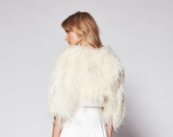 Delphine Ostrich Feather Bolero Jacket in Champagne