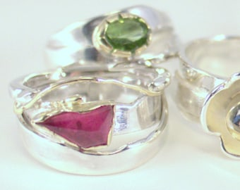 Silver ring with pink tourmaline in a 14kt gold settings