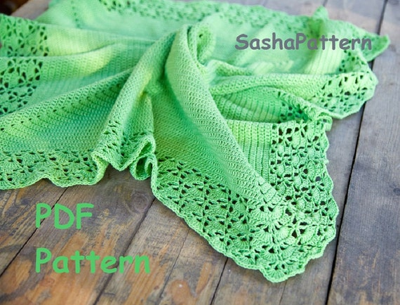 Crochet Blanket Pattern With Shell Lacy Border Square Baby Etsy
