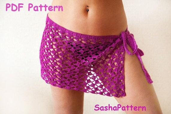 Crochet Beach Pareo Sarong Beach Skirt Cover Up Plus Etsy