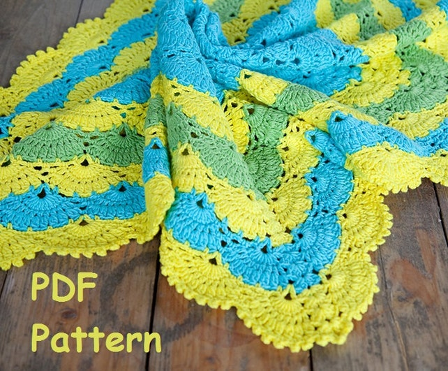 Crochet Lace Shell Stitch Baby Afghan Pattern Square Afghan Etsy