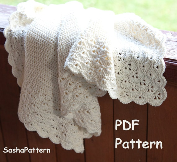 Crochet Blanket Pattern With Scalloped Edge Square Baby Etsy
