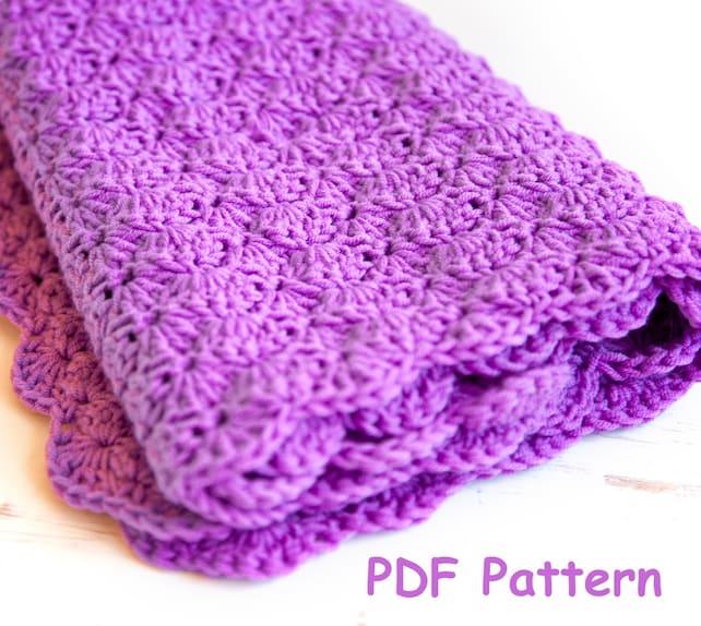 Crochet Shell Stitch Baby Blanket Pattern Easy Crochet For Etsy