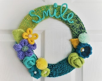 Knitted Springtime Wreath with Motivational Smile Word Art OOAK