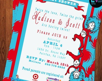 INSTANT DOWNLOAD DESIGN - Invitation inspiration Design - Baby Shower Invitation Twins - Red & Turquoise