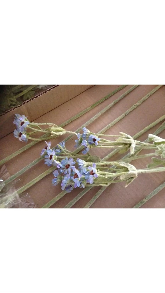Lot of 24 individual stems of blue aster silk flowers mightylinksfo
