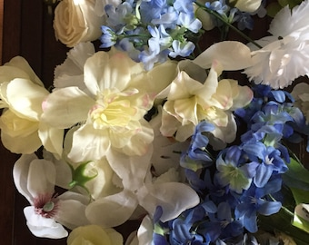 Ivory white Blue mixed flower heads Great for Crafts