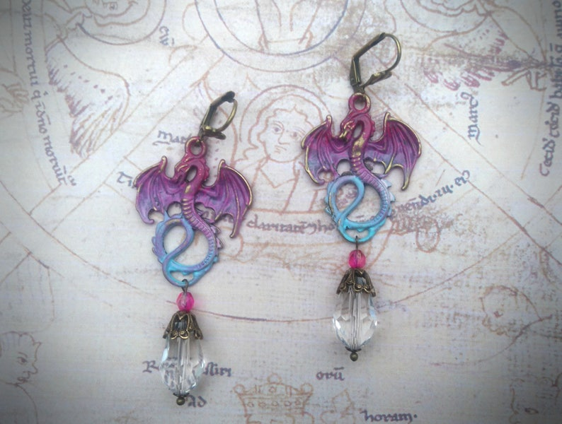 OOAK fantasy earrings pink purple and aqua patina clear and pink Czech glass beads Dragon earrings ox brass components hand painted