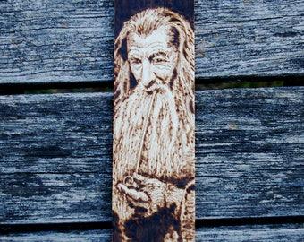 Gandalf LotR inspired wooden bookmark