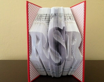 Folded Book Art Monogram-Initials-Kids-Nursery-College-Husband-Wife-Paper Anniversary Gift-Unique Gift-Best Selling-First Anniversary Gift
