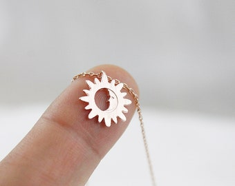 Sun and Moon Necklace Tiny Charm Necklace Bridesmaid Necklace Gifts for Friends Bridesmaid Gift