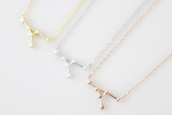 Cancer Rippled Gold Constellation necklace star sign necklace zodiac jewellery gift for her