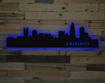 Charlotte City Skyline LED Sign