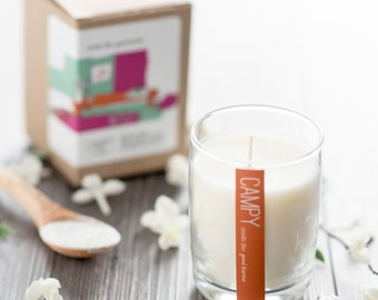Good Karma (Patchouli & Jasmine) 7oz soy candle // campy candles / gifts for yoga lover / vegan candle / yoga candle / karma candle
