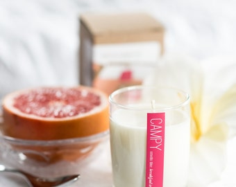 Breakfast in Bed (Grapefruit & Gardenia) 7oz soy candle / campy candles / gifts for her / anniversary gift / grapefruit scent / mothers day