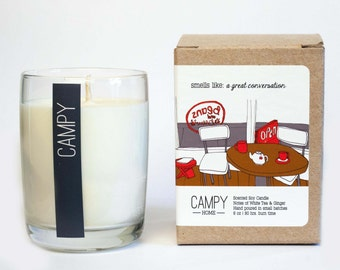 A Great Conversation (White Tea & Ginger) 7oz soy candle / campy candles / hostess gift idea / vegan candle / teacher gift / soy candle