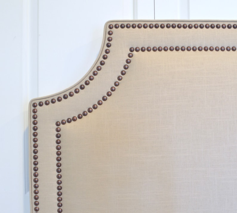 King Natural Linen Fabric Belgrave Shape Twin Size Double Row Oil-Rubbed Bronze Nailheads Full Queen Upholstered Headboard