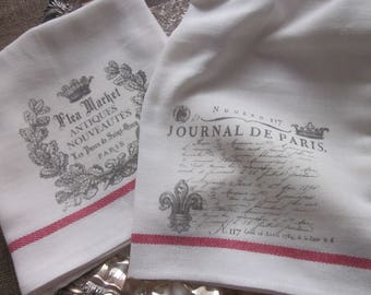 Journal De Paris Flea Market Paris TEA Towels Set of 2 Gift French Country