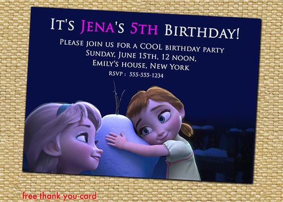 Disney Frozen Birthday Party Invitation Anna And Elsa As Kids Birthday Party Invites Supplies