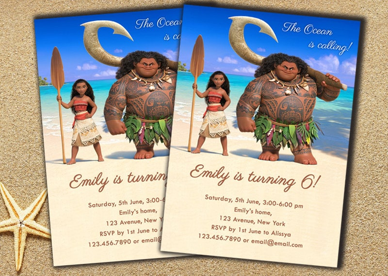 Moana Invitation Birthday Disney