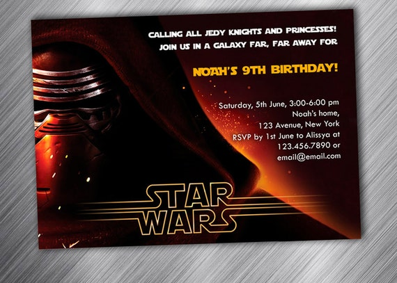 star wars party invitation birthday party invitation etsy