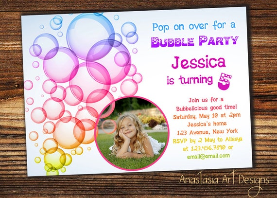Bubble birthday party invitation bubble party etsy image 0 filmwisefo