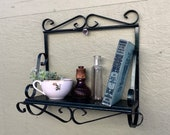 Vintage Green Iron Hanging Vanity Makeup Jewelry Shelf Bathroom Kitchen Organizer Cottage Chic Room Decor Indoor Succulent Plant Stand