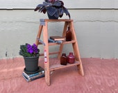 FREE SHIPPING USA 1970s Werner Household Natural Wooden 2 Foot Step Ladder Vintage Shabby Industrial Heavy Duty Kitchen Step Stool