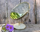Vintage Brass Vanity Swivel Magnifying Mirror Mid Century Retro Freestanding Portable Makeup Accessory Antique French Country Bathroom Decor