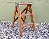 FREE SHIPPING USA Antique Wooden 2 Foot Kitchen Step Ladder Weathered Urban Industrial Style Planter Shabby Rustic Plant Stand Shelf