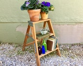 Antique 1970s Werner Household Natural Wooden 2 Foot Step Ladder Industrial Heavy Duty Kitchen Step Stool Shabby Cottage Chic Repurposed