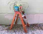 Antique Natural Solid Hardwood Kitchen 2 Foot Step Ladder Vintage Urban Industrial Style Planter Repurposed Decorative Shelf Plant Stand