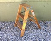 FREE SHIPPING USA 1970s Werner Household Natural Wooden 2 Foot Step Ladder Vintage Industrial Heavy Duty Shabby Kitchen Step Stool