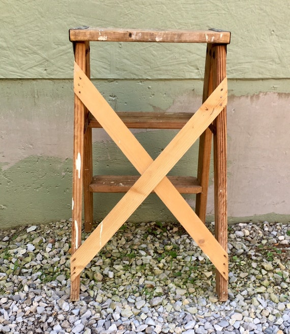 Antique Wooden 2 Foot Step Ladder Industrial Kitchen Step Stool Shabby  Cottage Chic Repurposed