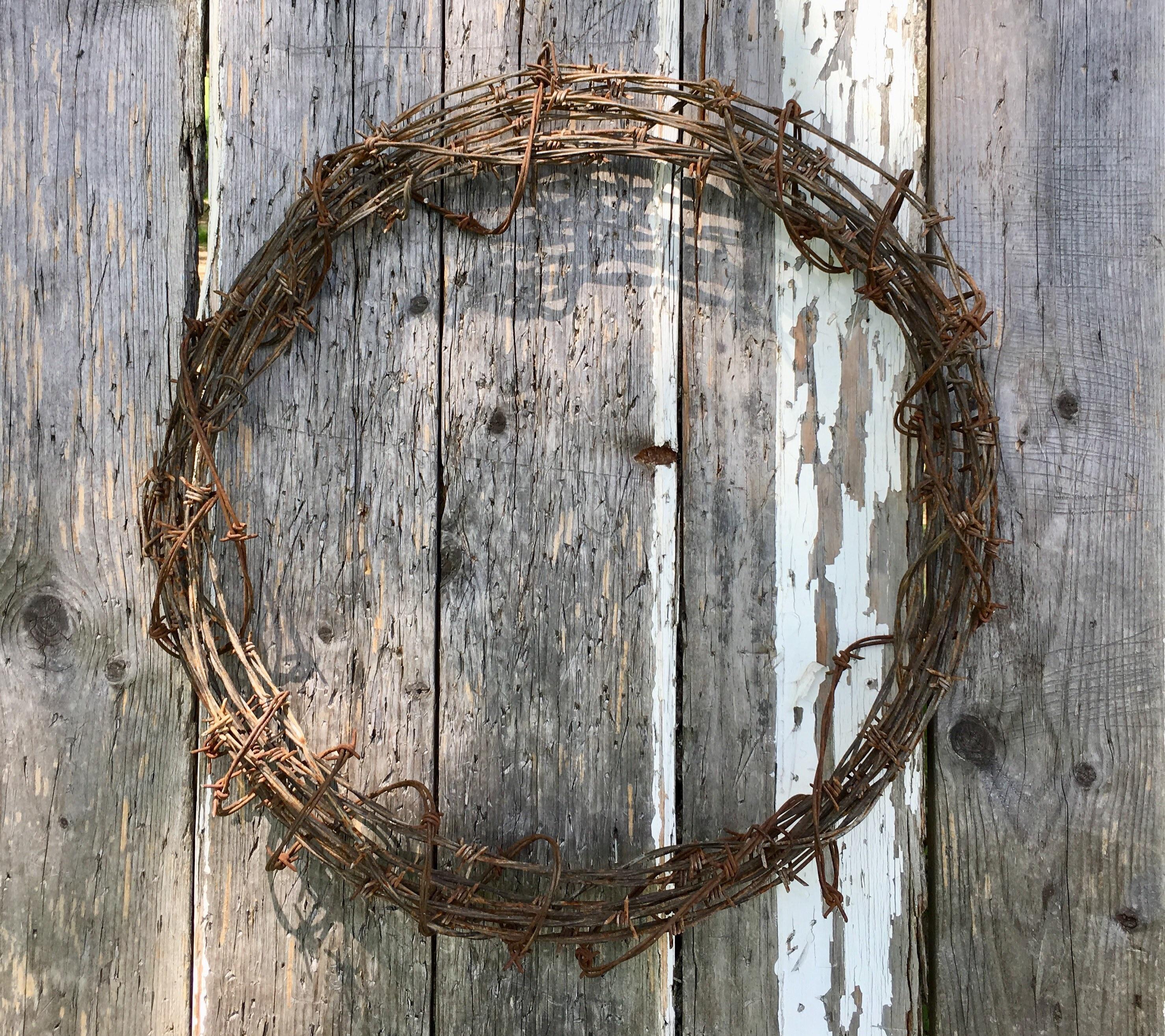 Vintage Rustic Western Decor Barbed Wire Wreath Rustic Wedding   Etsy