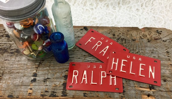 Vintage Red And White Kids Bicycle License Name Plates Popular 70s Kids  Names Arts And Crafts Supplies Room Decor