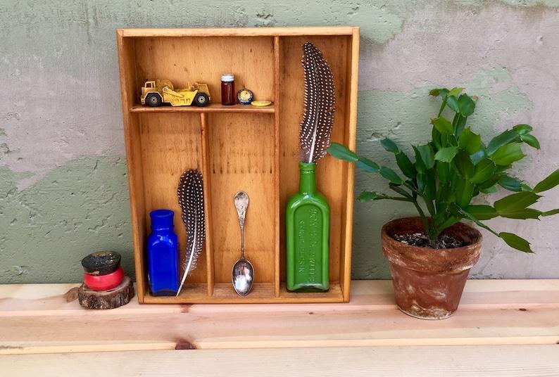 Antique Hardwood Utensil Holder Silverware Tray Vintage Flatware Cutlery  Drawer Organizer Box Repurposed Art Studio Storage Organizer