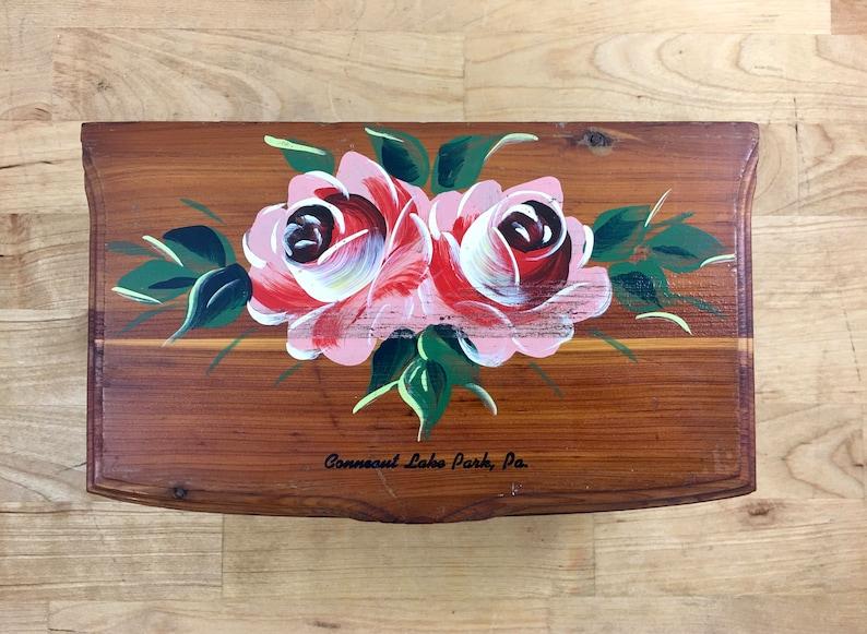 Vintage Hand Painted Floral Design Cedar Jewelry Storage Box Wooden Footed Treasure Chest Keepsake Trinket Catch All Junk Trunk