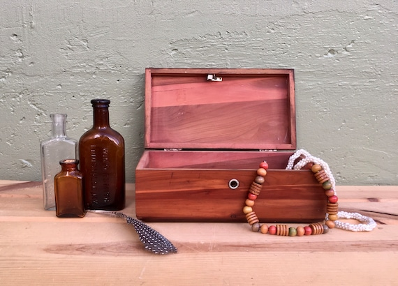 French vintage wooden Loudun souvenir miniature chest box jewelry box knick knack box copper boite en boite cuivre