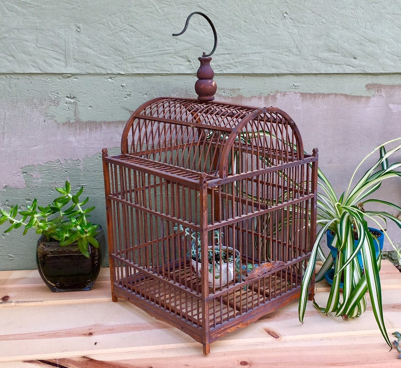 Vintage Decorative Wooden Bird Cage French Country/Cottage Chic Garden  Wedding Decorating Supplies Ornate Miniature Aviary Floral Design