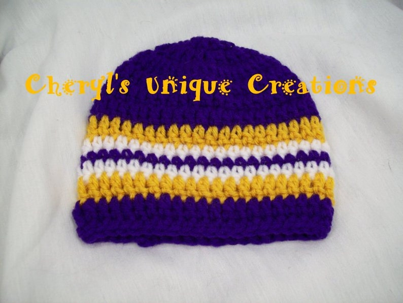 Preemie to Adult Larges Sizes Available Hand Crocheted Scarf and White Gold Beanie or Headband Louisiana Team Colors Purple