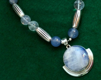 """18"""" Clouds in the Sky Rainbow Moonstone Pendant Necklace.  Sterling Silver,  Crystal. tiny Buddha amulet,free US ship  129.00"""