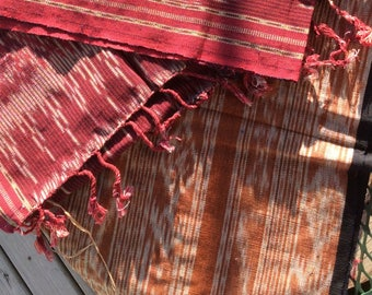 Handwoven Cotton Bali Ikat Thread Dyed Runner, Wall Hanging.. Vintage Textile, Ethnic, free US ship